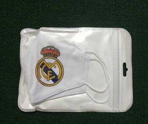 Fútbol 5pcs Material real Madrid Fútbol Equipo de algodón Fans enmascaras Máscara desechable se puede colocar en el reuso lavable medio