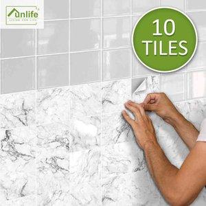 Funlife BRILLIANT 15x15cm 20x20cm White Marble Tile Waterproof Wall Sticker Backsplash for Bathroom Kitchen Camper Home