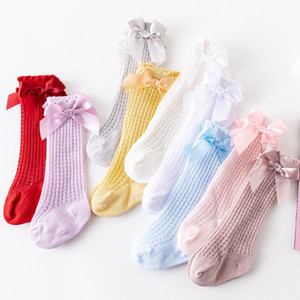 2021 Summer Baby Kids hole socks girls lace hollow crochet knee hight socks children princess socks kids ribbon bow breathable legs A5806