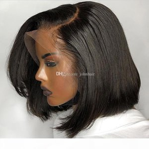 13x6 Deep Part Pre Plucked Bob Lace Front Wigs With Baby Hair Natural Straight Peruvian Virgin Short Human Hair Wigs For Black Women