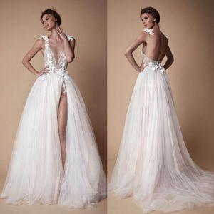 Богемные кружева Берта Свадебные платья 3D аппликация A-Line Deep V-образным вырезом Бич свадебные платья для свадебных платьев