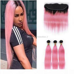 Pink Ombre волос пакеты с кружевной лобной перуанской девственницей человеческих волос Weaves 3 пакета с кружевной лобной закрытием шелк прямые розовые волосы