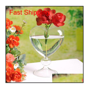Glass Flower Pots Planter Heart Glass Vase Standing Home Decoration Flower Vase Desktop Decorative Vases Wedding Party Decor Vqfuv Ok36J