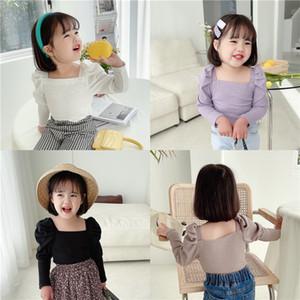 Yaz Yeni Ins Küçük Kızlar Nervürlü T-shirt Sonbahar Boş Puf Kollu Pamuk Moda Bountique Giyim Kış Güz Kızlar Top 2-7 Yıl