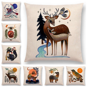Retro Mystery Watercolor Art Totem Sofa Pillow Case Animals Deer Bear Bird Fish Fox Owl Snake Rabbit Heron Bee Cushion Cover