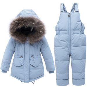 Дети зимой пункт одежды наборы реального мехового воротника дети зима пуховик детские девушки теплые комбинезоны малыши мальчики вниз пальто T200917