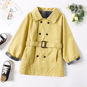 Coat 2021 Fashionable Kid Girl Double Breasted Plaid Cuff Solid Overcoat