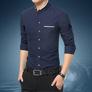 Quality Fashion Casual Men Shirt Long Sleeve Mandarin Collar Slim Fit Men Korean Business Mens Dress Shirts Clothes M-5xl