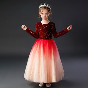 Flower Girl Dresses Luxury Tulle Party Dresses For Wedding Party Girl Christmas Party Prom Formal communion Long sleeved dress