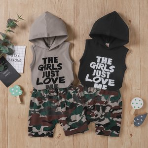 kids clothes boys outfits infant Hooded Sleeveless letters Tops+Camouflage shorts 2pcs set 2021 summer fashion baby Clothing Sets Z2425