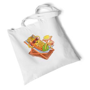 Burger Print Women Canvas Bag Korean Simple Shoulder Handbag Reusable Shopper Bags Fashion Shopping Travel Eco Tote