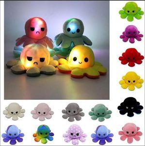 Освещенный обратимый Flip Octopus Фурсированная кукла Мягкая симуляция Обратимая плюшевая игрушка Цвета Глава плюшевая кукла заполнена плюшевая детская игрушка FY7488