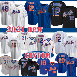 Francisco 12 Lindor Pete Alonso Jacob degent Darryl Strawberry Baseball Jersey personalizzato Jeff McNeil Noah Syndergaard Nuovo Michael Conforto York