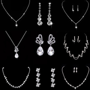 Fashion Jewelery Bride Jewelry Sets Silver Earrings & Necklace White Rhinestone Series For Women Wedding Banquet High Quality