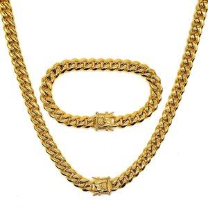Amumiu Hip Hop Full Bling CZ Кубический цирконий Ювелирные изделия Кубинская цепь Ссылка Ожерелья Браслеты Box ClaP Miami Cubra HZTZ183