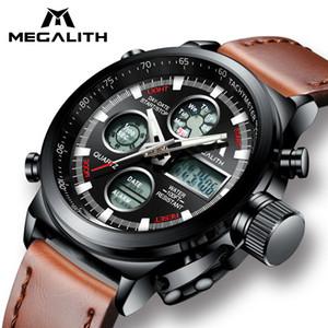 Megalith reloj hombres deportes militares impermeable reloj de pulsera led reloj multifunción digital reloj masculino reloj de cuero genuino ly191213