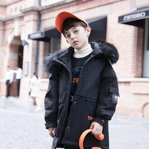 with Boys winter hooded down jacket terry boys warm duck coat mid-length for 5-12 years fur collar