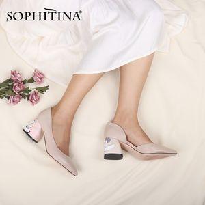 Sophina Womens High Tacchi alti sexy punta di pecora in pelle di pecora stampata piazza tacco a tacco superficiale scarpe da sposa per matrimoni C172 210225