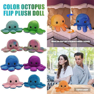Reversible Plush Toys Soft Flip Two-Sided Octops Plush Toy Stuffed Doll Soft Simulation Octopus Cute Animal Doll Gift DHL Shipping 2021