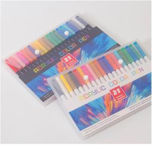 Acrylic Paint Marker Pen Set Постоянные 21 Цвета Акварель Ручка для керамической Рок Стеклянный Фарфоровая Кружка Древесина Ткани Холст Qylrjf