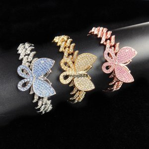 JH Mens Iced Out Butterfly Charm Cuban Charm Bracelet Cz Punk 2cm *20cm Miami Link Bling Hip Hop Bangle Jewelry For Women Men Christmas Gi