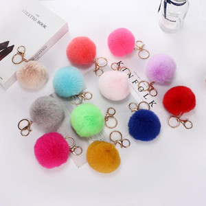 Fashion Fluffy Faux Fur Pompoms Keychains Jewelry Women Girls soft and plush fuzziness Pom Pom for Backpack Bag Accessories
