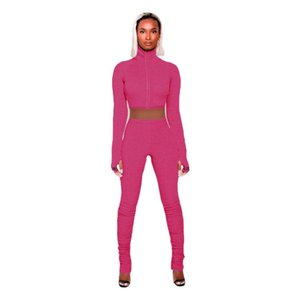 Lucky Label Embroidery 2 Two Piece Set Knit Rib Bodycon Women Outfits Fitness Elastic Turtleneck Zipper Front Crop Top Leggings