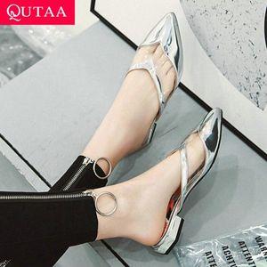 QUTAA 2020 Women Sandals Fashion Pointed Toe Pu Leather Platform Square Low Heel Women Pumps Ladies Sandals Size 34 43 Comfortable Sho X9yt#