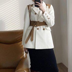 Cuir PU Femmes White Blu Grand Taille Blazer Nouveau collier Notched Manches à manches longues Fit Fit Fit Fashion Spring Automne 2021 1DD3343