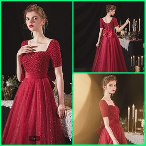 Vestido de Festa 2021 Вино Тюль с коротким рукавом выпускного вечера платья тяжелой бисерой жемчуга блестящей длины пола домов.