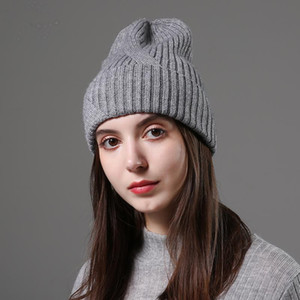 Design Fashionable Autumn Winter Hats Unisex Knitted Real Wool Beanie Solid Colors Ski Gorros Casual Caps Warm Muts Hat