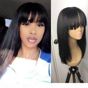 Short Bob Human Hair Wigs With Bangs For Black Women Lacefront Wig Human Glueless Virgin Peruvian Full Lace Front Bob Wigs
