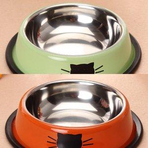 Ciotole Cat Food 1pcs Cane Acciaio Inox Animali domestici Bere Cibo da alimentazione Forniture Pet Forniture Pet Anti-skid Cats Cats Acqua Bowl Tools Acqua 2JCJ