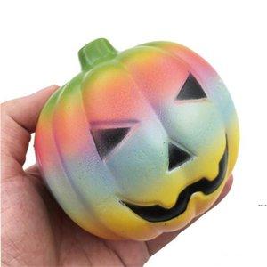 Kinder Halloween Geschenke Squishies Hand Squeeze Spielzeug 10cm Hallowmas Squishy Regenbogen Kürbis langsamer Aufstieg Rebound Hand Quetschendes Spielzeug DHF5615
