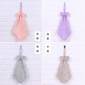 Home dust removal thickened coral veet bow towel kitchen hanging quick drying absorbent towel
