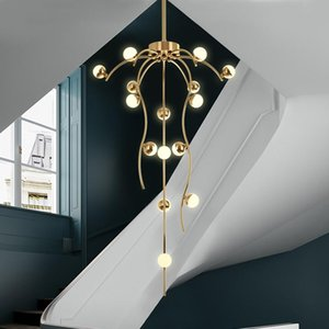 Brass three-color light restaurant modern LED golden chandelier kitchen staircase luxury branched chandelier ball lighting fixtu