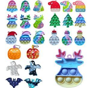 Christmas halloween Kids Children gifts push pop fidget toys key chain rings rainbow cartoon bubble puzzle keychain Xmas tree bell elk pumpkin ghost toys H911RJ6O