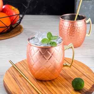 Stainless Steel Beer Cup Copper Mug Moscow Mule Mug Rose Gold Hammered Copper Plated Drinkware Cocktail Glass sea shipping LLA348