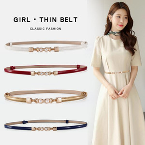 New Skinny Belt for Female Narrow Cowhide Waist Belts for Women Dress Strap with Pearls Golden Buckle Genuine Leather Belt Fashion Belt