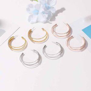 10pairs Lot Korea Multi Layer C-shaped Ear Ring Geometric Copper Diamond Earrings For Women Hot Business Party Stud Earring Jewelry