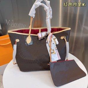 2PS Classic Tote Торговая сумка Старый цветок Большая емкости Пакет на молнии Внутренняя кармана Неверь другая сумка буква L Узор хорошее качество