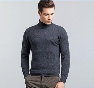 Мужские свитера мужские 100% мериносовые шерстяные свитер Turtleneck Cashmere Jumper Мужской вскользь теплые пуловеры