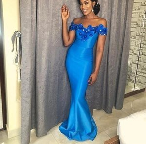 2021 new Blue satin Mermaid Sexy Bridesmaid Dresses Long Off Shoulder Beaded Wedding Dresses Bridal Gowns party prom Dresses Plus Size