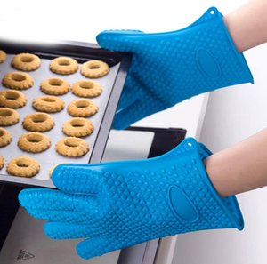 Kitchen Microwave oven mitt Baking Gloves Thermal Insulation Anti Slip Silicone Five-Finger Heat Resistant Safe Non-toxic Gloves OWB5052
