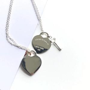 2020! TIF 925 Стерлинговый серебряный серебряный серебряный замок в форме сердца ожерелье изысканный цепь ключицы, ее сердце только вы можете открыть 0208