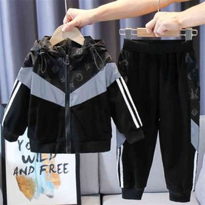 100-170CM children Kids autumn winter jacket hooded zipper coat and pants two-piece outfifts reflective tops teenages students tracksuit sports casual set L91401N