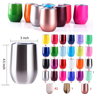 Stainless Steel Tumbler Rose Gold Insulated Wine Tumbler 12oz 6oz Coffee Mugs stemless Wine Glass For Wedding Christmas Gift BWD5102