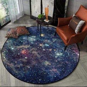 3D Gorgeous Starry Universe Round Area Rugs Living Room Children Chair Tent Non-slip Floor Mat Bedroom Kids Play Game Carpets