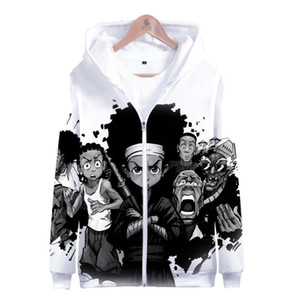 Zipper 3D Boondocks Hoodie Clothes Hoodies Sleeve Harajuku The Long Sweatshirt Casual Hooded Streetwear Oversized Women Men Gimdr