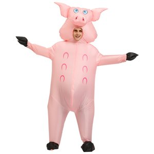 Infltble pink pig Costume Crnivl prty Hlloween Costumes for dult women men niml pig Cosply Clothing cy Dress Suit